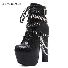 Купить с кэшбэком Zip Metal Chains Rivet Motorcycle Boots Women Shoes Super High Heels Platform Ankle Boots Punk Rock Gothic Biker Boots YMA704