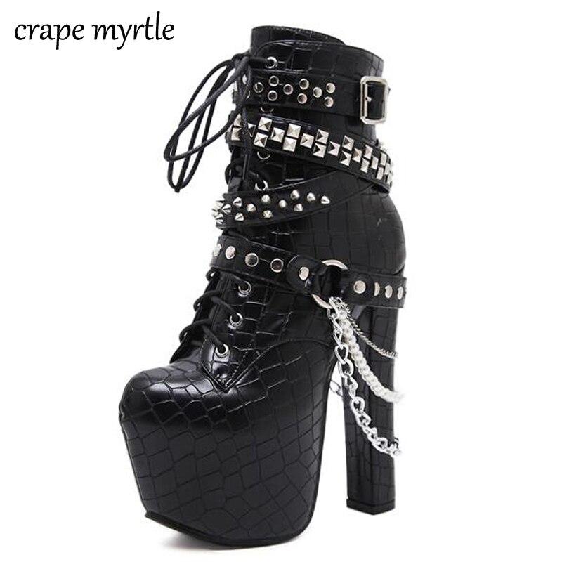 Zip métal chaînes Rivet moto bottes femmes chaussures Super hauts talons plate-forme bottines Punk Rock gothique Biker bottes YMA704