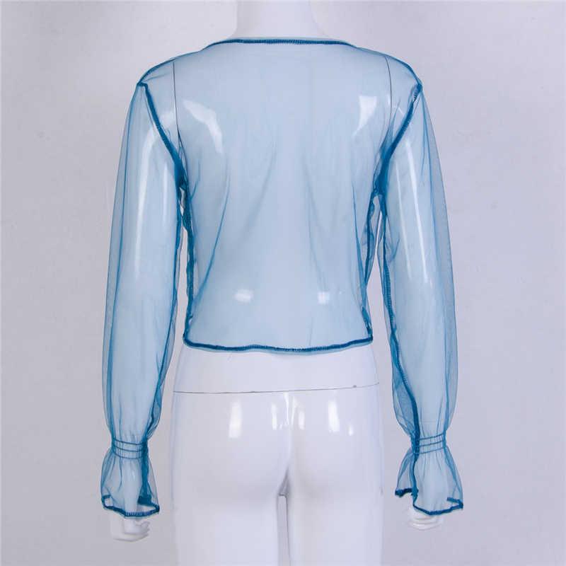 뜨거운 패션 여성 메쉬 깎아 지른 시스루 긴 소매 자르기 탑 t 셔츠