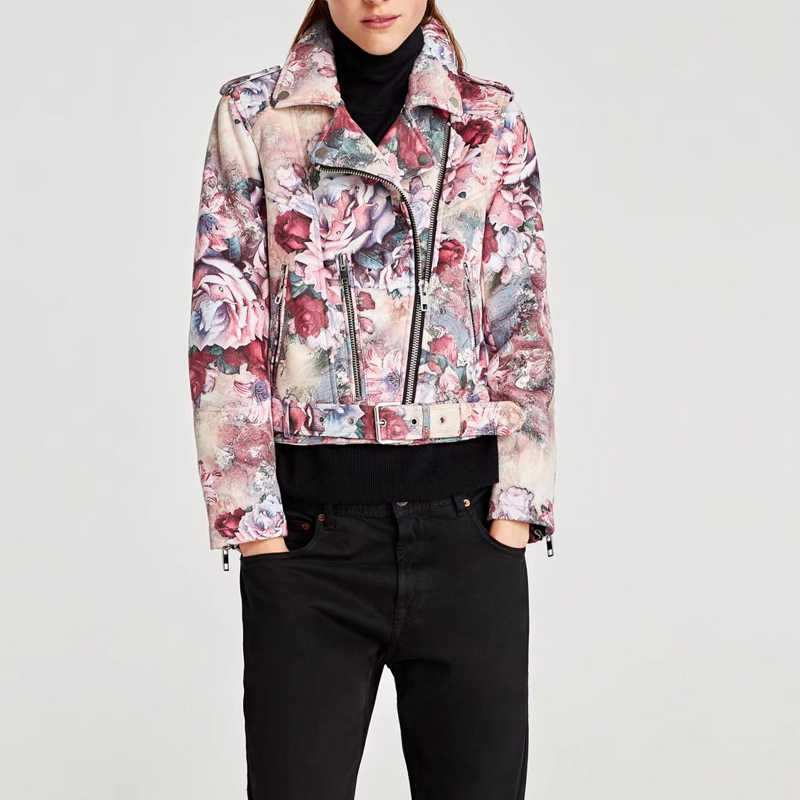 Spring Clothes Floral Suede Jacket Women 2019 Faux Leather Zipper Biker Motorcycle Jacket Punk Coat Streetwear Chaqueta Mujer