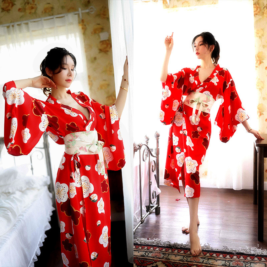 V-neck Comfortable Woman Pajamas Dress Nightgown Floral Japanese Style Haori Kimono Yukata Loose Sexy Robe For Female