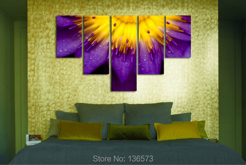 Hand Painted Modern Purple And Yellow Color Flower Painting Sets 5 ...