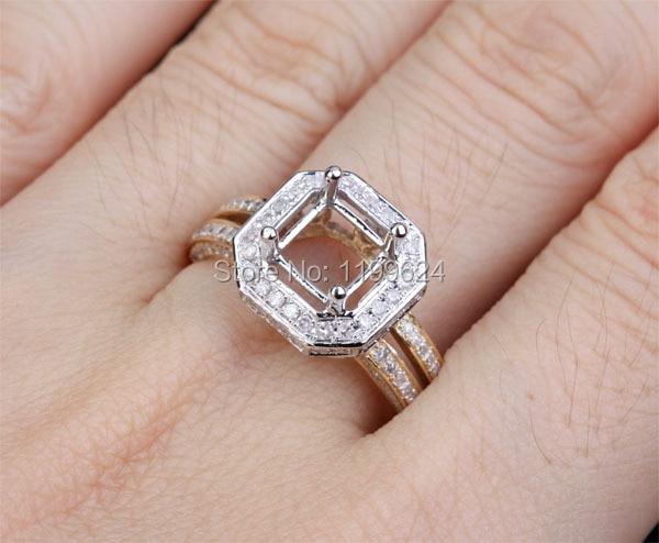 6mm Princess 14k 2 Colour Gold 0 55ct Diamond Ring Setting