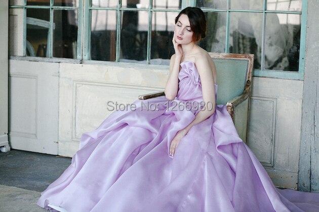 2014 Summer A Line Strapless Ruffles Soft Satin Low Back Long Train Light Purple Wedding
