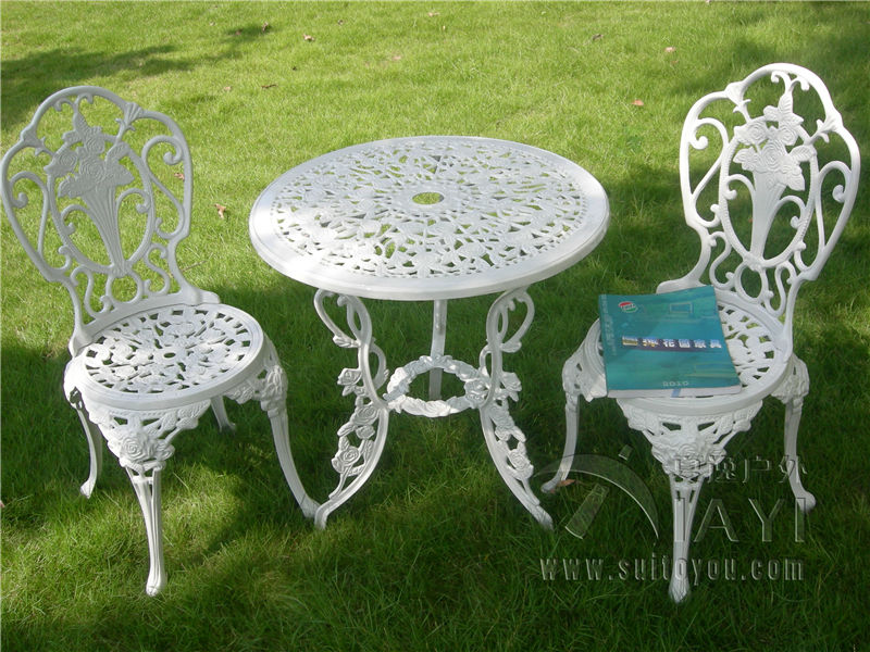 3 piece white bistro patio set table and 2 may chairs set furniture garden outdoor seat