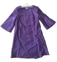 фиолетовый женщины твердые длинный плащ верхняя одежда двубортный жакет ветровка туника пальто