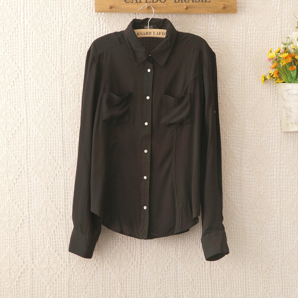 1135 новинка офис леди черный рубашка женщины femininas свободного покроя дизайн топ размер S-хl благородный шарм женщин блузка