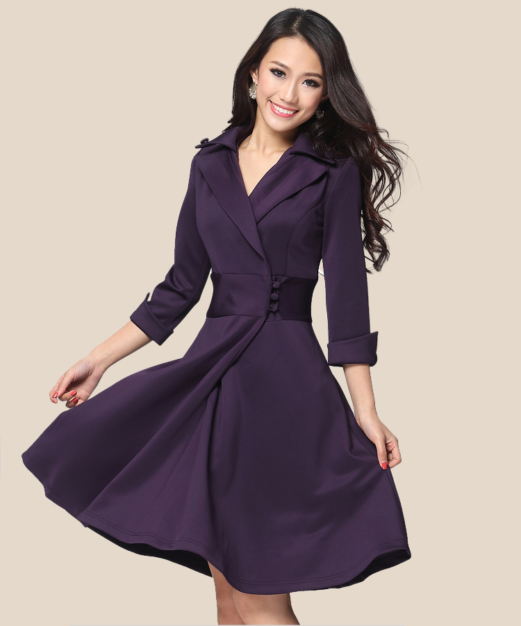 Aliexpress.com : Buy Spring seven sleeve casual dresses pleated ...