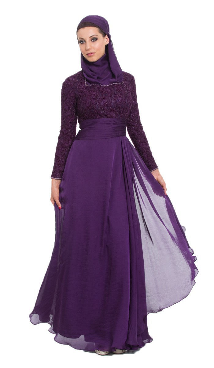 New Designer Elegant Purple Lace Long Sleeve Muslim Arabic Hijab ...