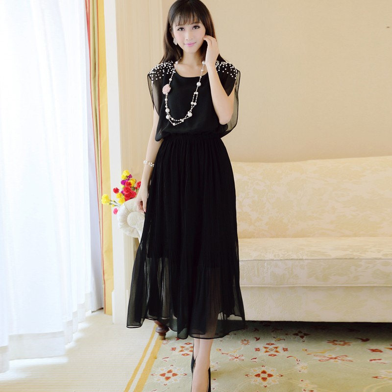 шифоновое платье лето носить новое платье хан издание clad женская рукавов ногтей автобусы Европа - высший типа