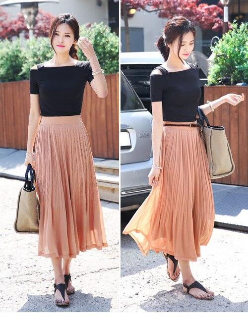 Long Black Pleated Chiffon Skirt - Skirts