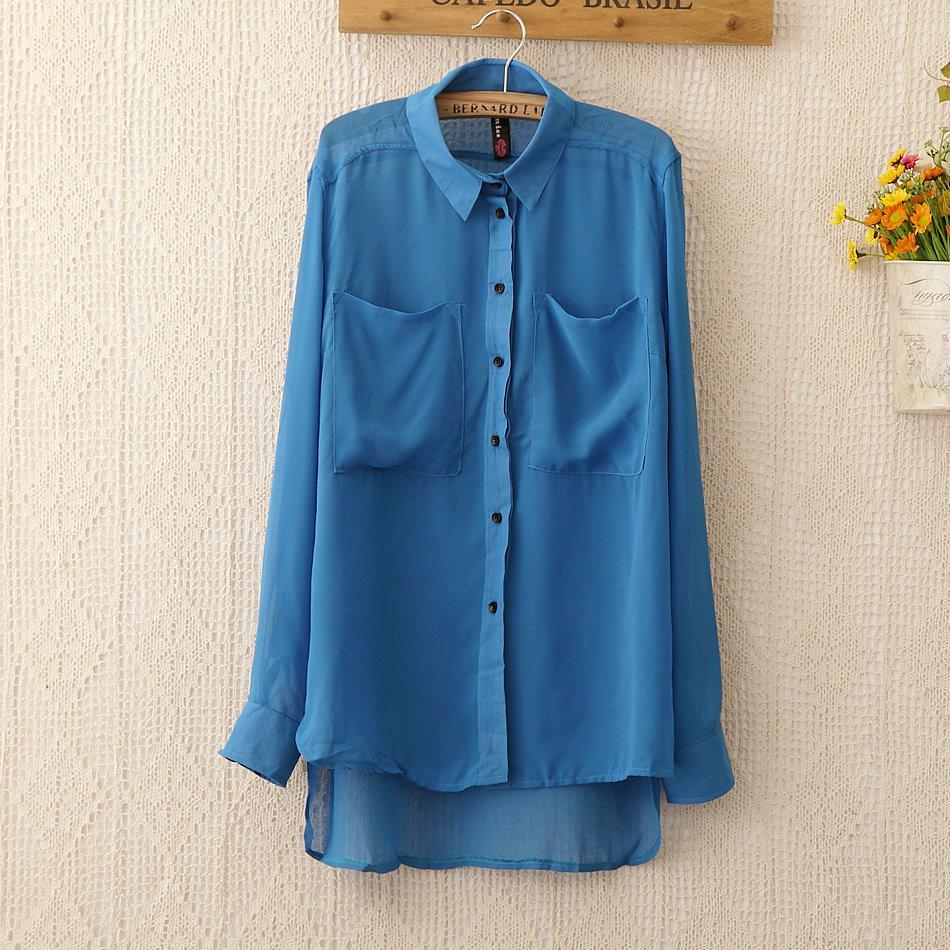 1141 широкий карман блузки рубашки blusas с бесплатная доставка новинка женщин лето большой размер шифон рубашка шелковые топы для женщин