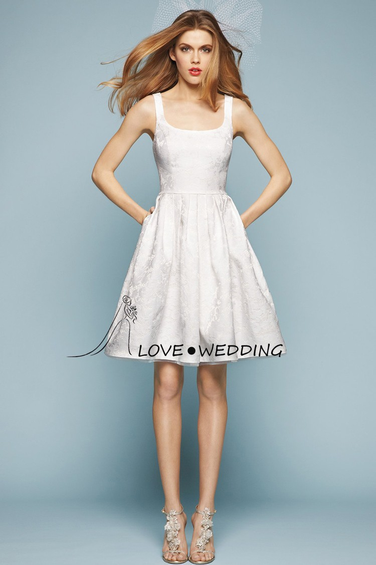 Simple White A line Knee Length Short Wedding Dress With Pockets ...