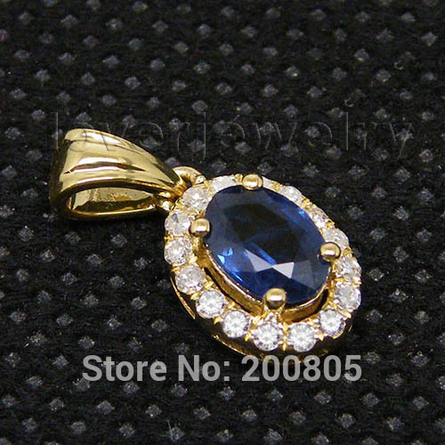 Vintage oval 4x6mm 18kt yellow gold diamond blue sapphire pendant l0940f l0940e aloadofball Choice Image