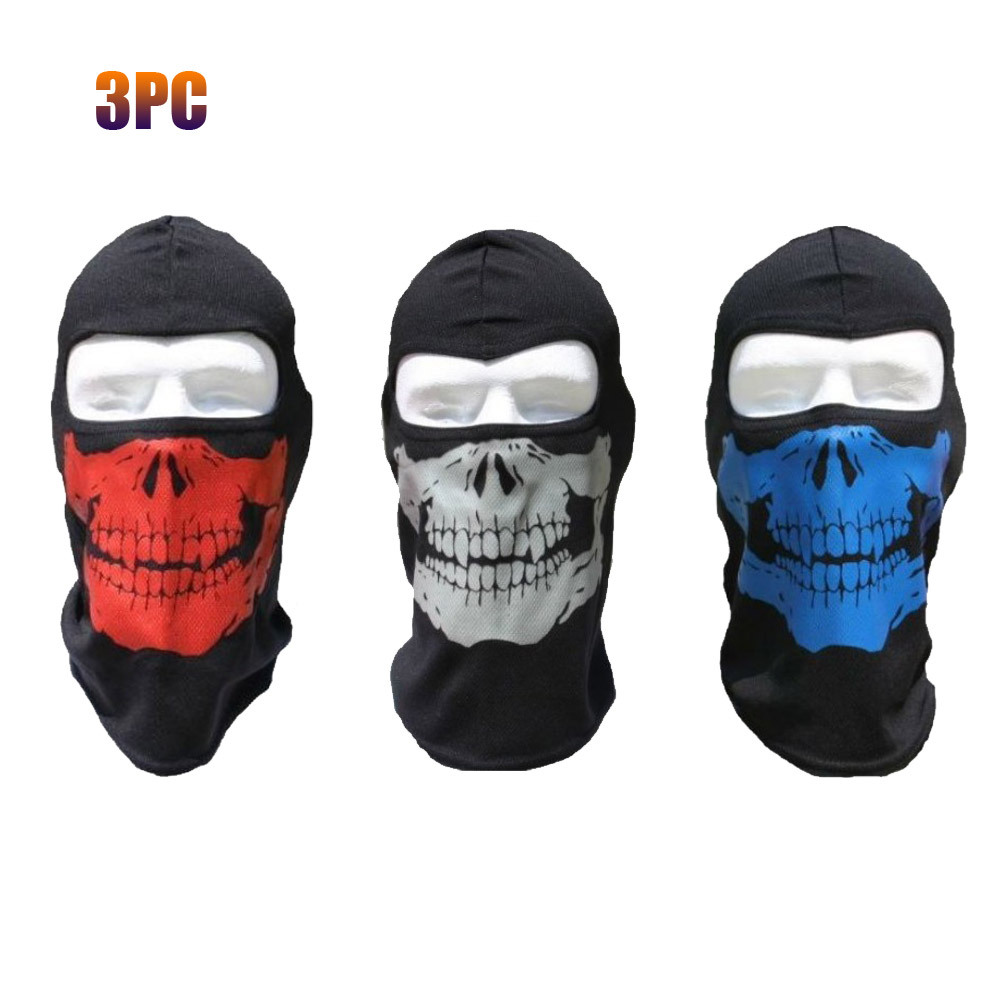 3pc Red Silver Blue Skull Ski Hood Face Mask Pack Ski Paintball