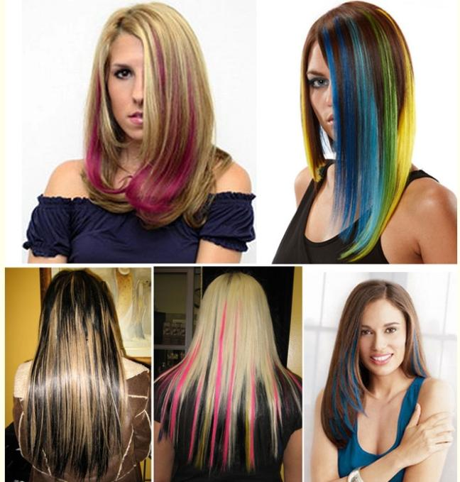 Women Long Clip Cosplay Straight Hair Extension Neon Rainbow