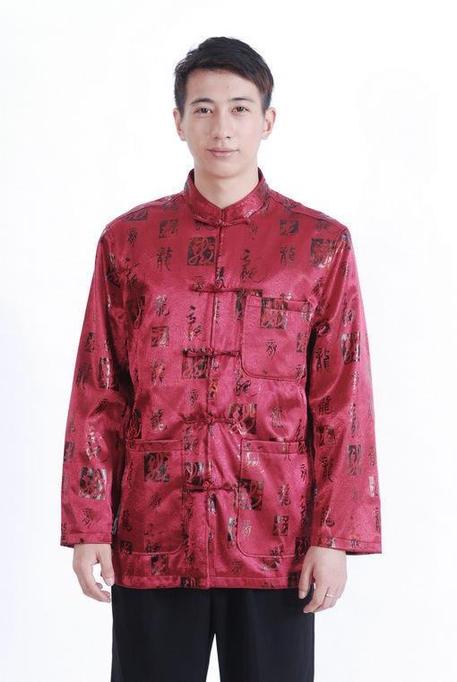 традиционный китайский тан костюм длинный рукав традиционный рубашка воротник-мандарин рубашка верхний китайский m0029