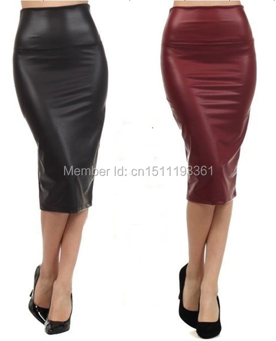 free shipping plus size high waist faux leather pencil skirt black ...