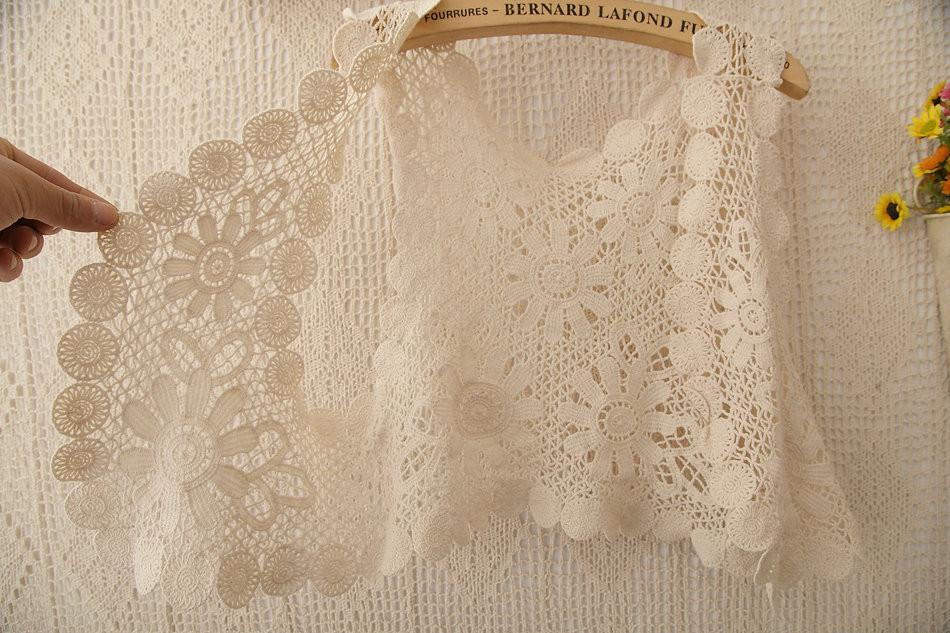 525 лето марли вышивка крючком жилет кружево рубашка твердый мыс из блузка для женщин цвет бежевый