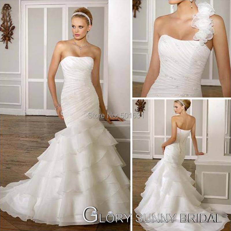 2015 Removable one shoulder fishtail mermaid wedding dress Real ...