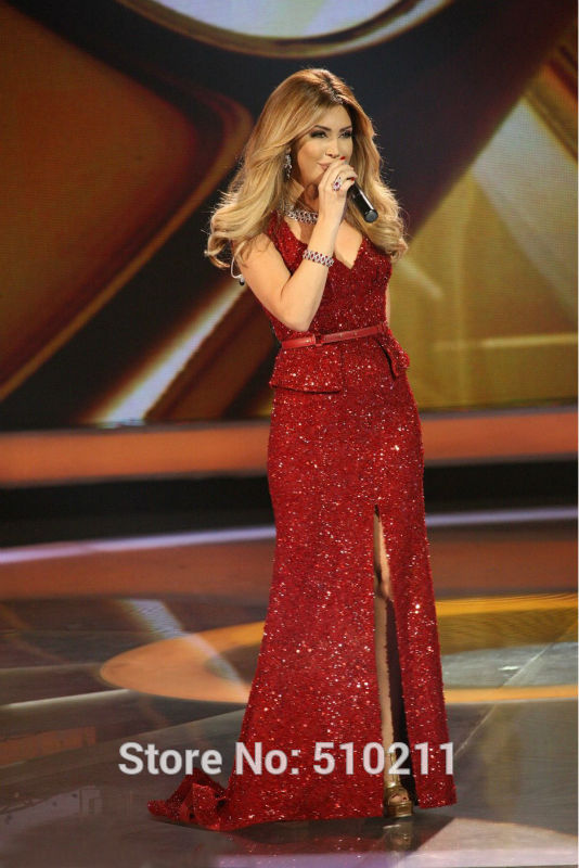 Aliexpress.com Acheter Arabe étoile Nancy Ajram robe profonde col V une  ligne naturel taille fente de longueur de plancher paillettes dentelle robes  de