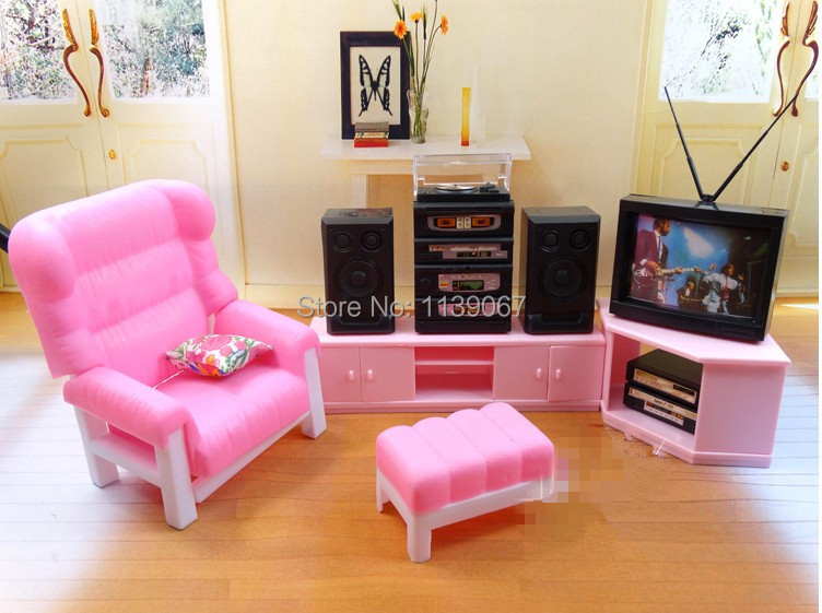 TV Sound Stand Chair Set / Dollhouse Pink Television Set Living Room ...