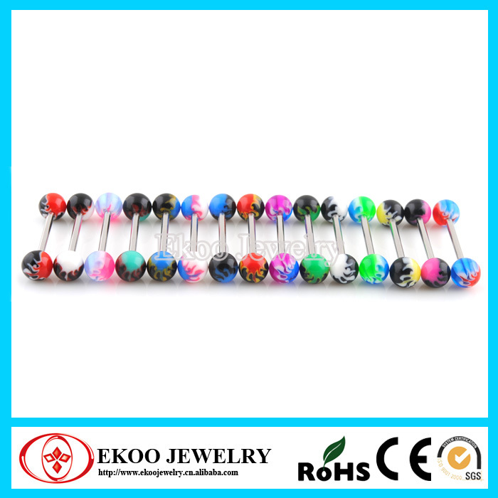 10 Pieces Set of UV Flames Ball with 16 Gauge Bio Flexible Circular Barbell Body Jewelry