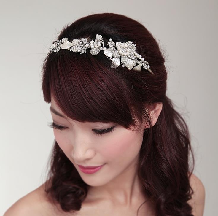 Handmade Wedding Tiara Headband Crystal Pearl Flower Head Piece Bride Vintage Bridal Headpieces Hair Jewelry Accessorieswigo0266 In From