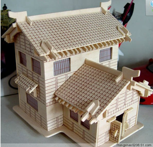 3d wood puzzle wooden house model miniature doll house toy japanese