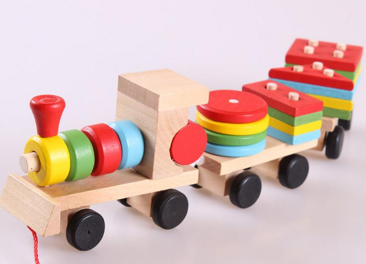 Free delivery factory price children's educational Three small trains toys, wooden blocks trains, kids Models Building Toy 5