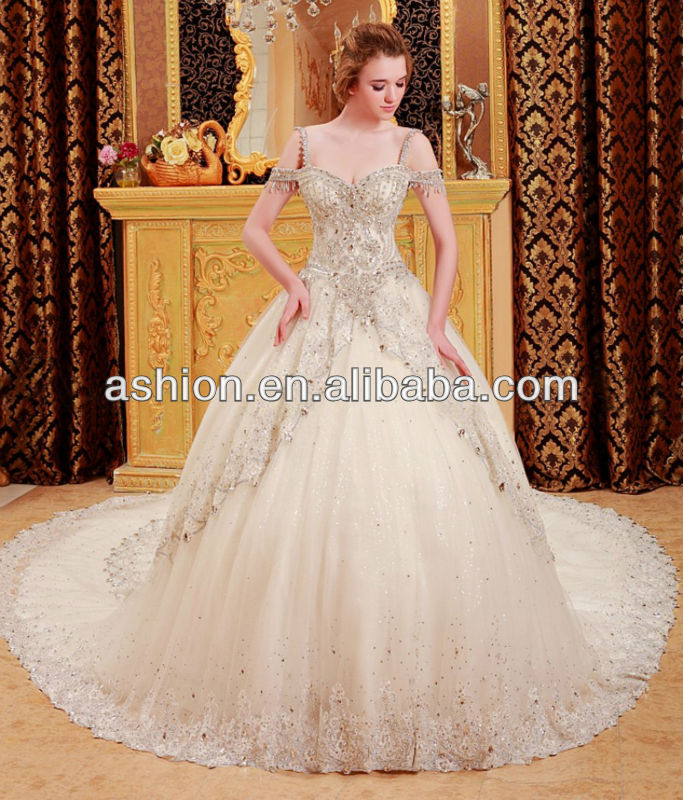WE 1865 New arrival heavy beaded lace appliqued ball gown indian ...