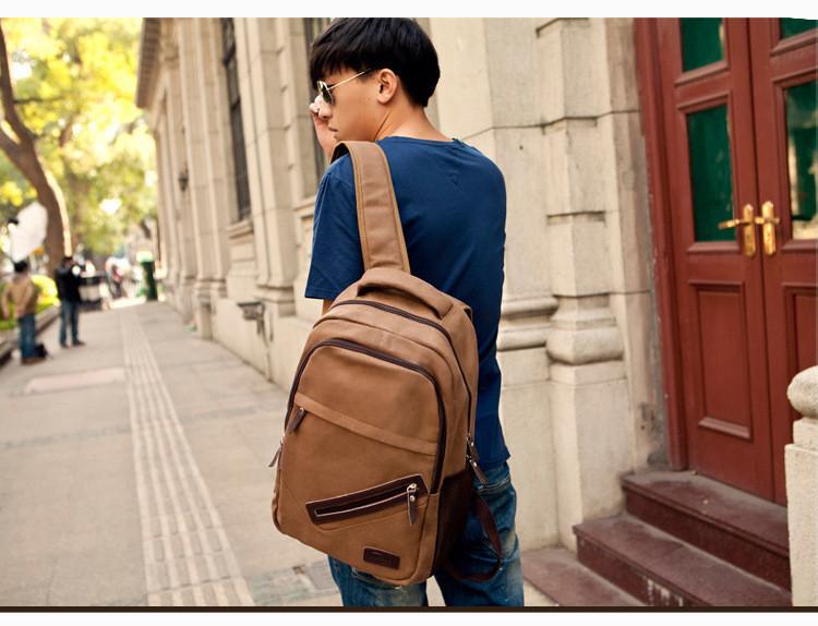 мода мужчин свободного покроя рюкзаки холст путешествия рюкзаки многофункциональный компьютер старинные студент backpags