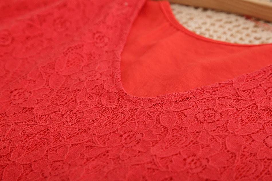 408 новая коллекция весна блузки хиты распродажа кружева рубашки с коротким рукавом большой размер прохладный с V-образным вырезом женская блузка красный блузы blusas ренда