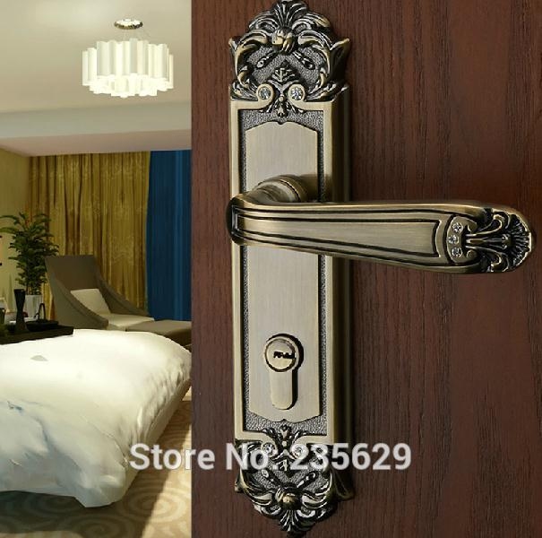Free Shipping European style Entrance Villa Door Lock double bolts mortise lock  Antique Brass finished lock & Free Shippingdouble bolts mortise lockEuropean style ...