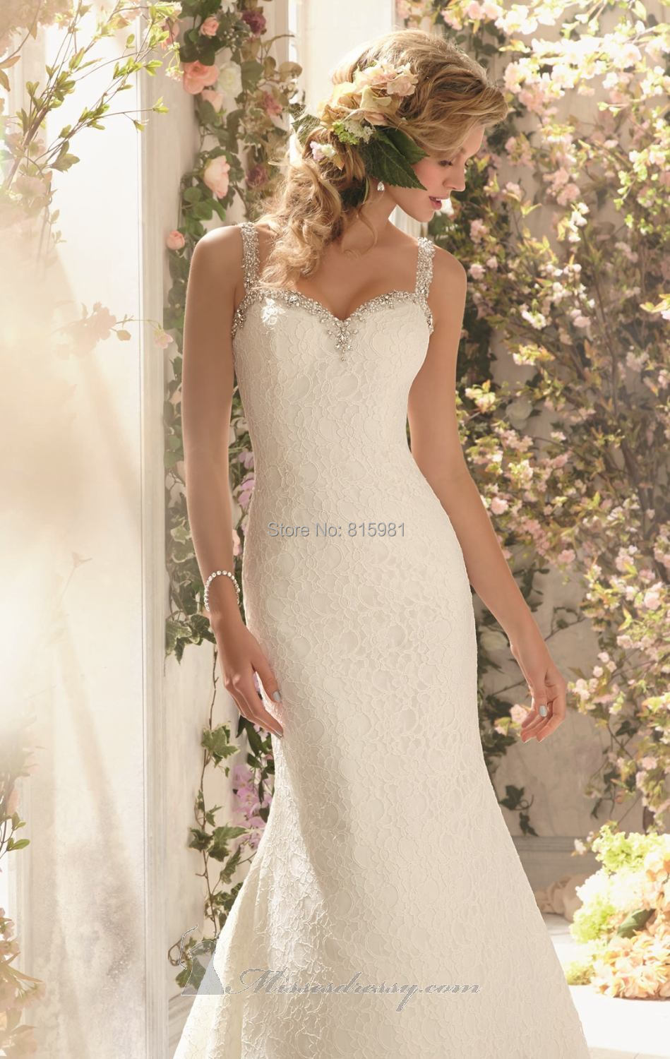 Ivory Straps Floor Length Mermaid Lace Wedding Dress Bridal Gown ...