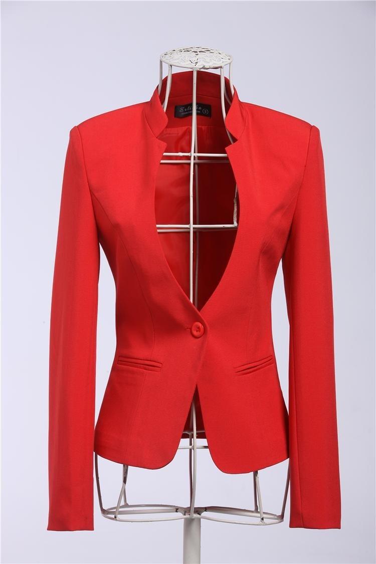 New 2015 Spring Autumn Formal Female Red Blazer Women Blazers ...