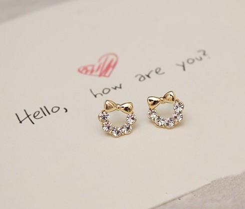 по крайней мере $ 8 прекрасный лаконичный сплав мода создан алмаз серьги-гвоздики g0113