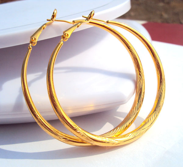 BIG CIRCLE EARRINGS CLASSIC 18k YELLOW SOLID GOLD FILLED TONE 50MM