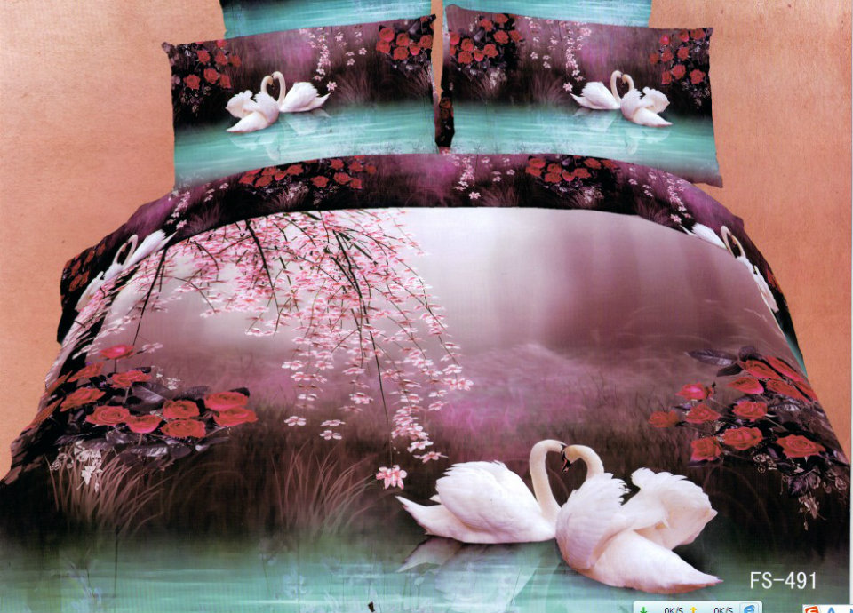3d 100 cotton bedding set 4pcs bed in a bag swan purple animal activated ink special bed sheet queen king free shipping