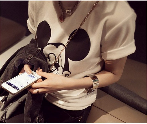 Women t-shirts Cartoon Middle Finger Print O-neck Striped t shirt Fashion Female t-shirt Crop Top 12