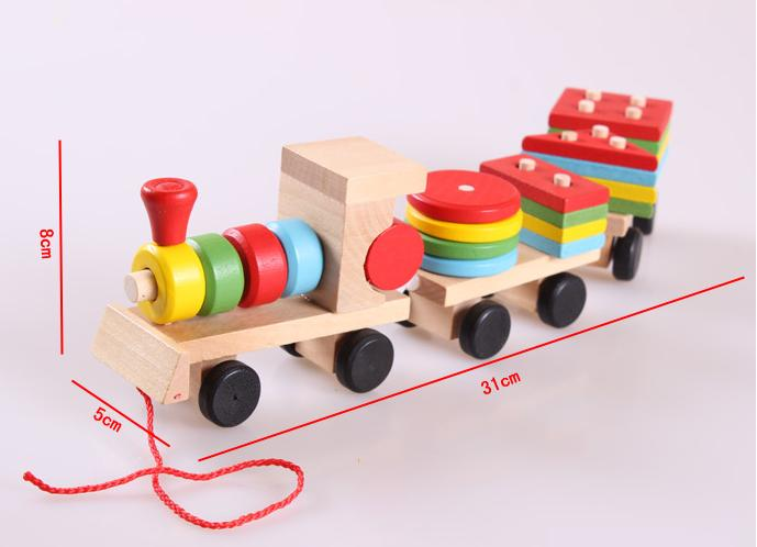 Free delivery factory price children's educational Three small trains toys, wooden blocks trains, kids Models Building Toy 7