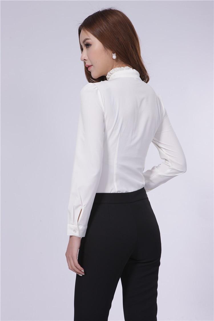 Spring 2015 New Formal Work Blouses Women Long Sleeve White Shirts ...