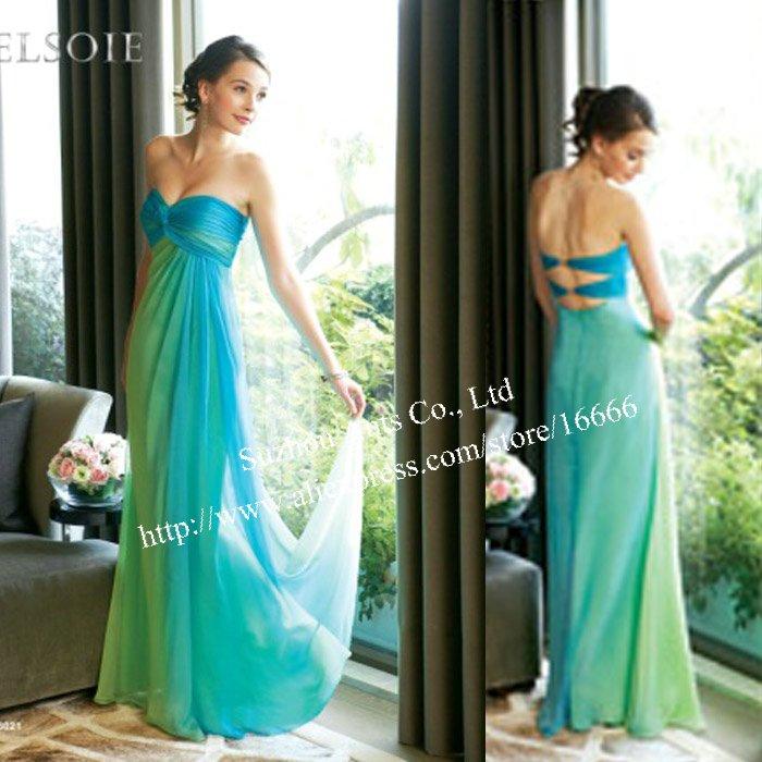 Fashion Online Strapeless Green Ruched Chiffon Sweetheart Neckline Bridesmaid Dress
