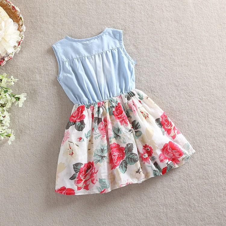 HT1DEWuFNpbXXagOFbXO - Belababy Baby Girl Dress 2017 Summer Children Sleeveless Denim Floral Dresses With Button Kids Princess Summer Dresses For Girls