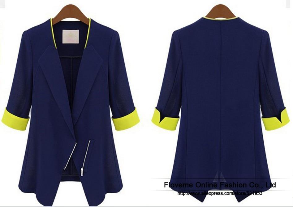 Plus-Size-New-2014-Spring-Women-s-Fashion-Elegant-Blazers-Coat-Suits-3-4-Sleeve-Slim