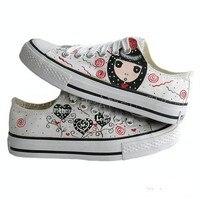ручная роспись туфли, в форме сердца благословение милые иллюстрации ткань туфли. холст туфли для женской обуви