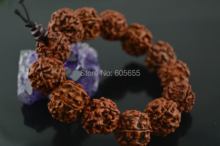 16~17mm Big Rudraksha Beads Mala Bracelets Prayer Man's Jewelry 5 pc per lot Free Shipping Polish Oil Plating 4
