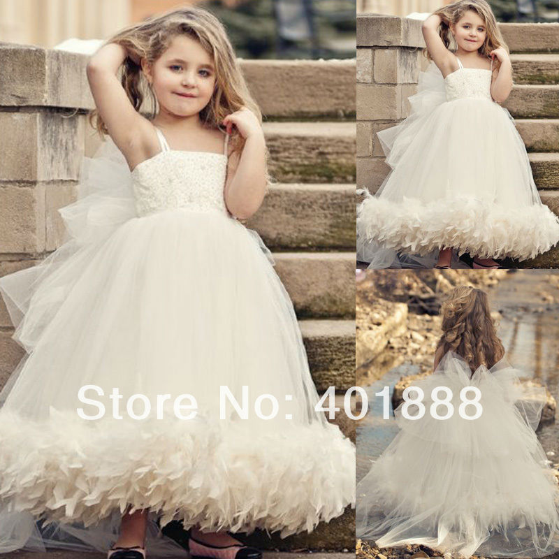 Lovely Beaded Top Spaghetti Straps Ball Gown with Feathers Bottom ...
