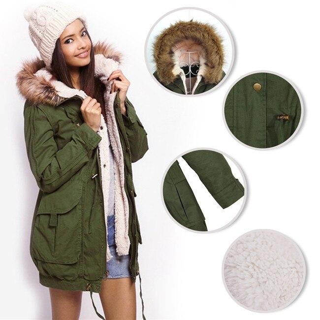 322fe5006 Hot Sale Winter Women Warm Hooded Military Green Faux Fur Long Girls ...