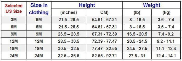 Bodysuits size chart